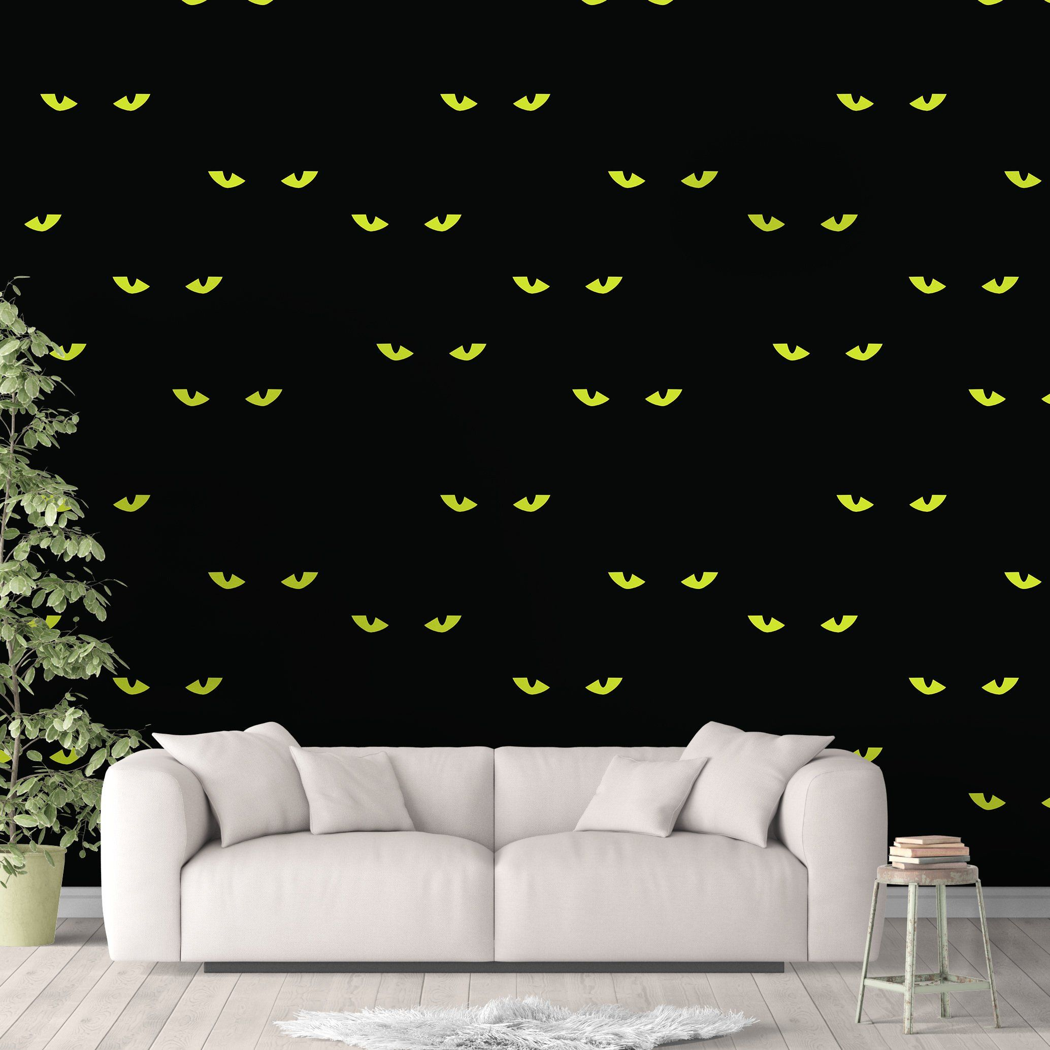 Spooky Cat Animal Wallpaper, Black Cat Wall Cling, Scary Wall Decal, Kitty Peel and Stick, Halloween Wall Decor, Cat Eyes Pattern, Horror Decor - Smooth Wall Decal / 1 roll: 24W x 84H