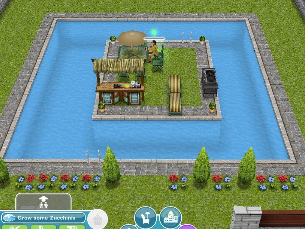 como construir una piscina en sims free play