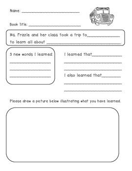 Magic School Bus Book Response Sheet With Images Magic School