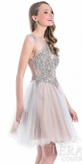 Crystal Cluster Illusion Prom Dress by Terani Couture  #edressme