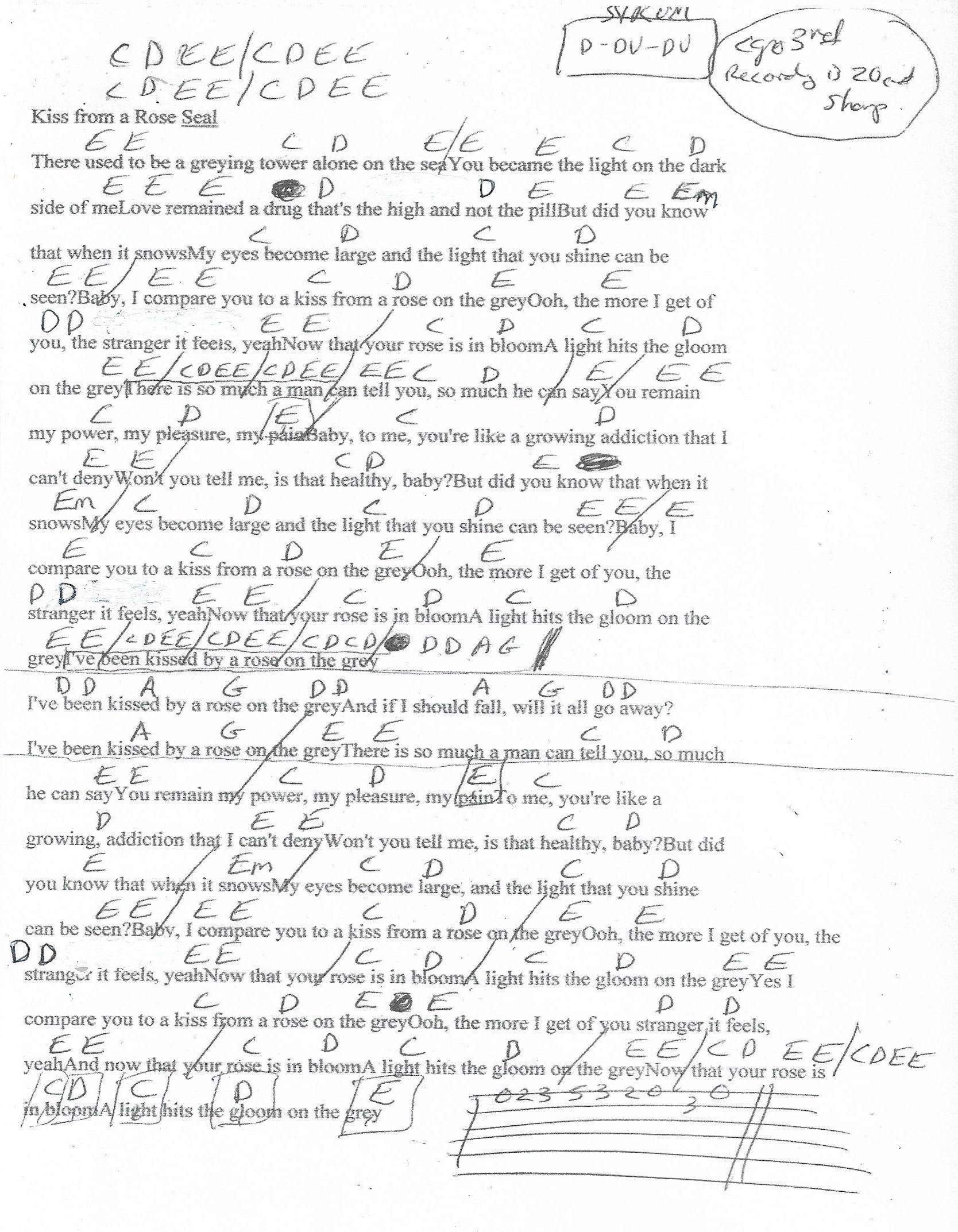 Kiss From A Rose Seal Guitar Chord Chart   Capo 15rd   Chord ...