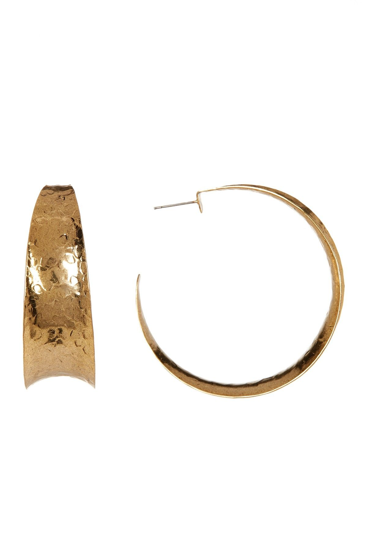 Nest Hammered Brass Graduated Hoop Earrings bdEHhwb5O