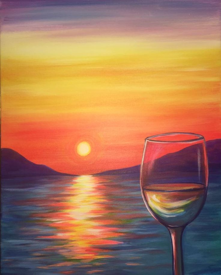 Image Result For Wine And Paint Ideas Sunset Painting Simple Acrylic Paintings Wine Painting