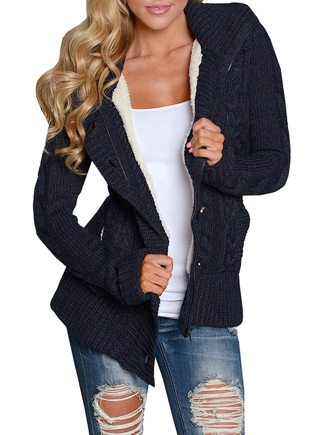 Yacooh Womens Cardigan Sweaters Cable Knit Open Front Hooded Button Down  Sweater Coat -- Check 331f77808