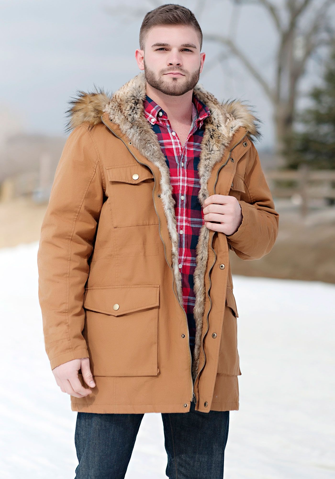 Men's Tobacco Military-Style Faux Fur-Lined Parka | Fur, Military ...