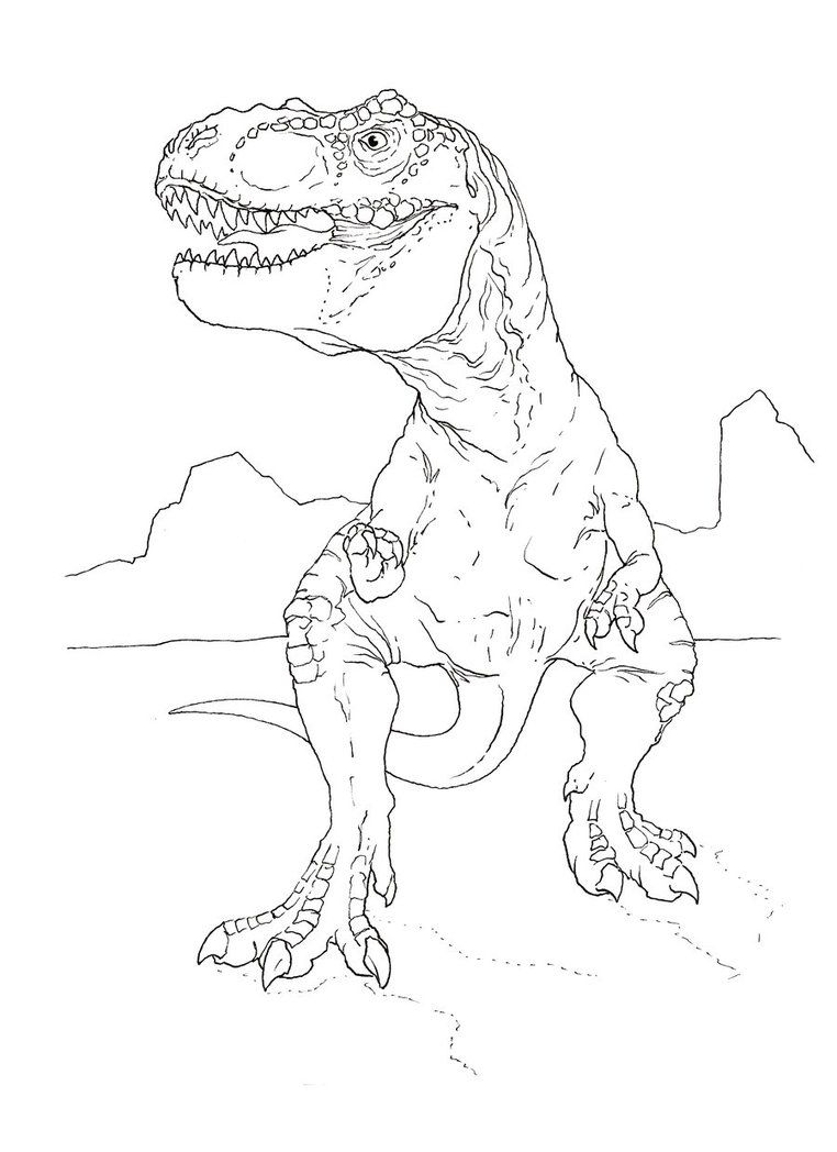 T Rex Coloring Page By Stuntmanmike666
