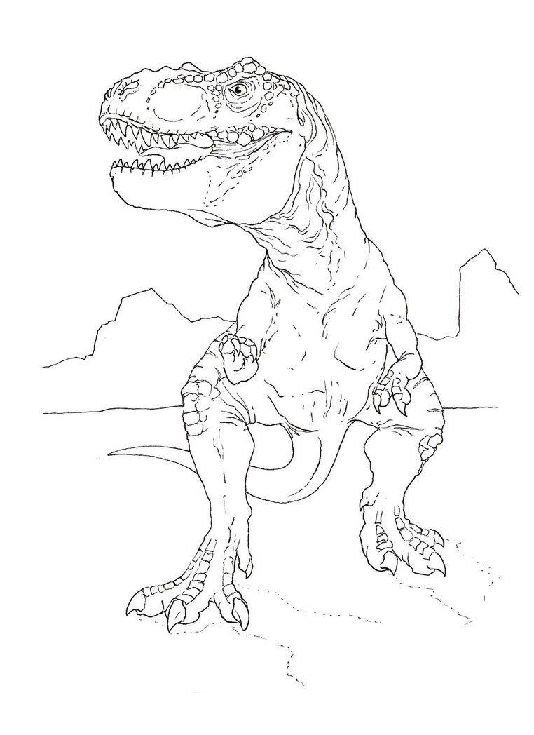 T Rex Coloring Page By Stuntmanmike666 Elliot Pinterest