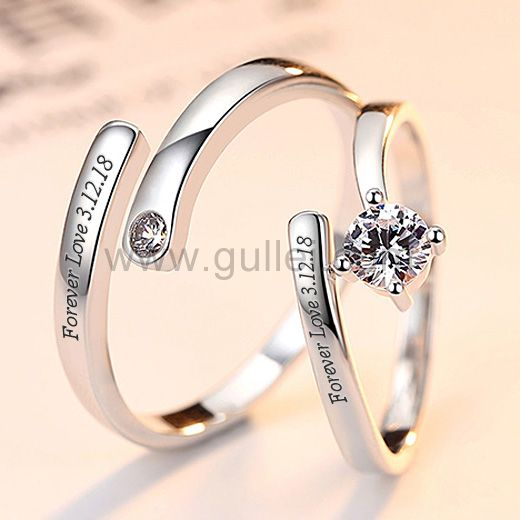 Names Engraved Adjustable Size Silver Engagement Rings Engagement Rings Couple Couple Ring Design Silver Engagement Rings