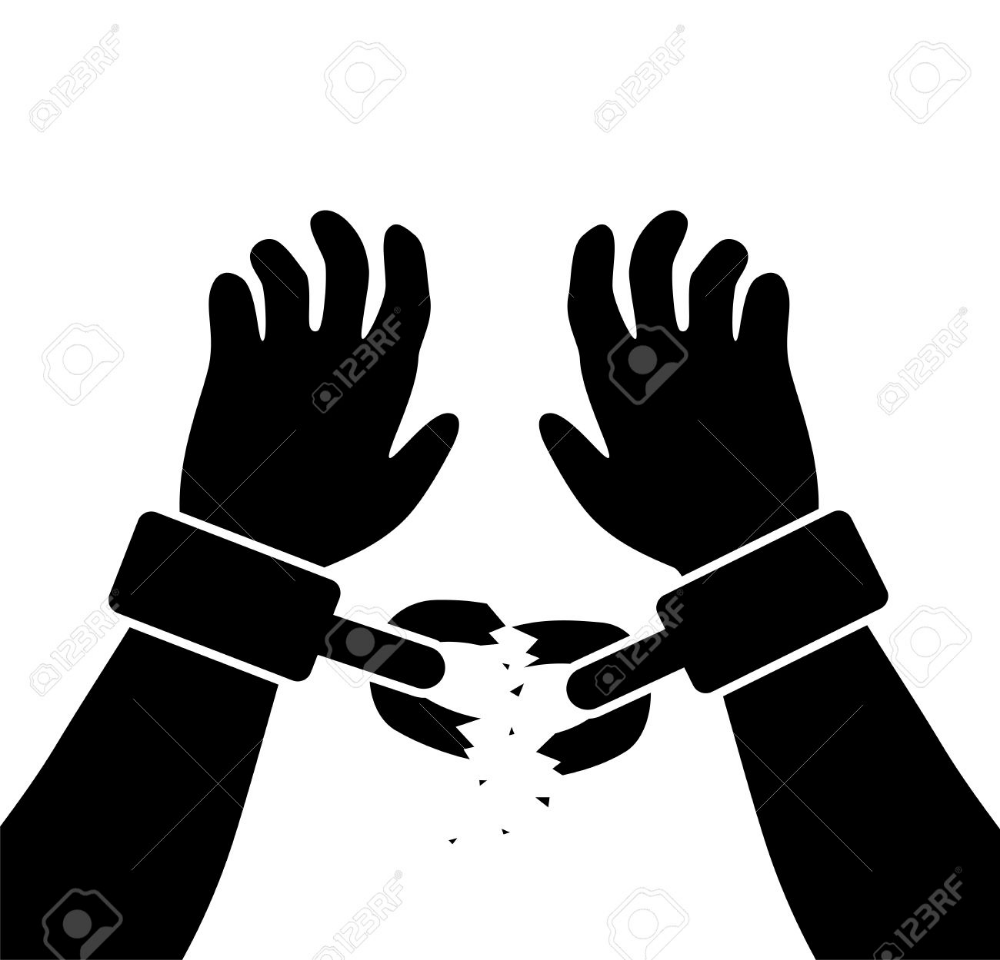 Vector Symbol Of Man S Raised Hands With Broken Chains Broken Chain Chain Symbols