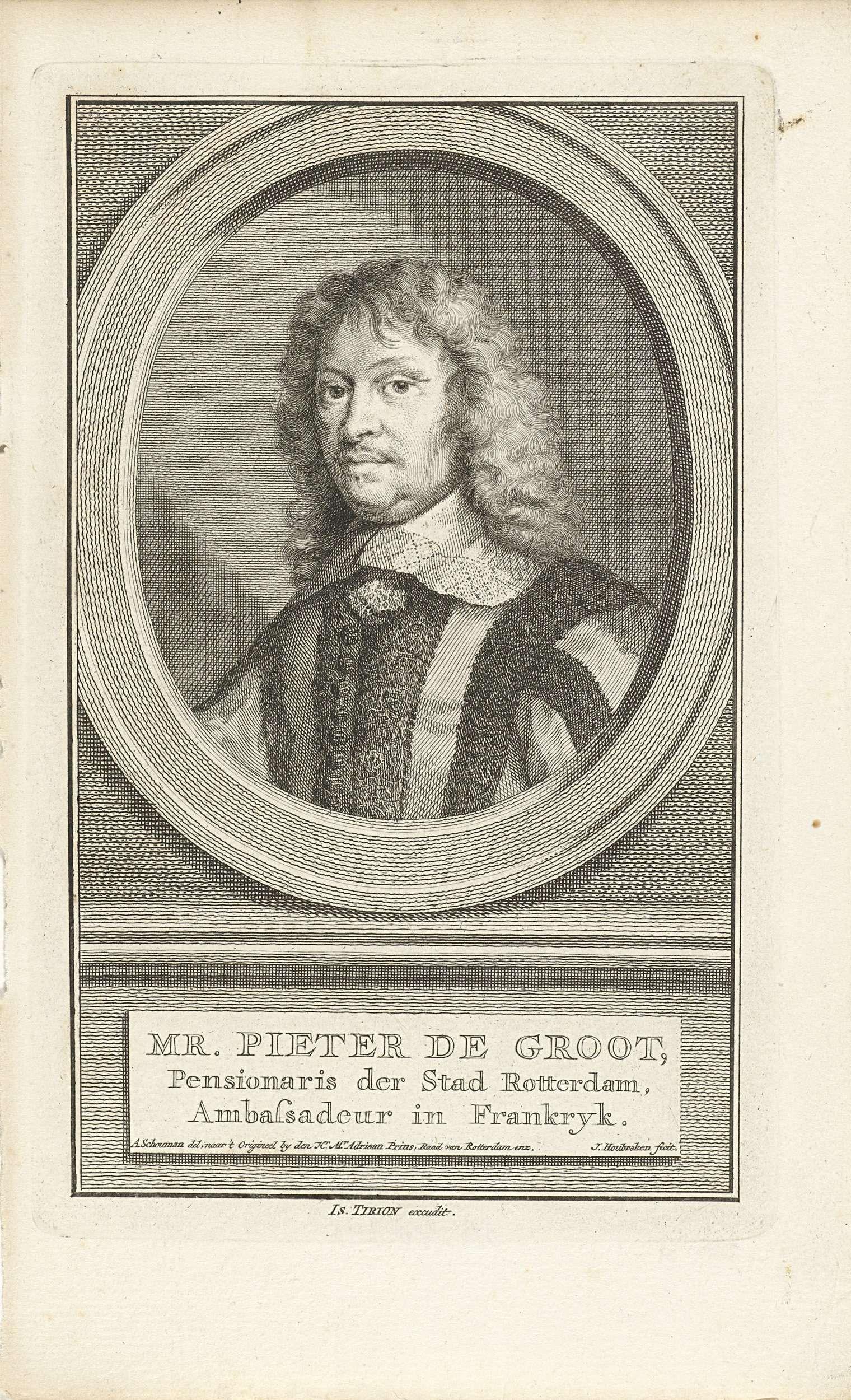 Jacob Houbraken | Portret van Pieter de Groot, Jacob Houbraken, Isaak Tirion, 1749 - 1759 | Buste naar links van Pieter de Groot in een ovaal. Het portret rust op een plint waarop zijn naam en gegevens in drie regels in het Nederlands.