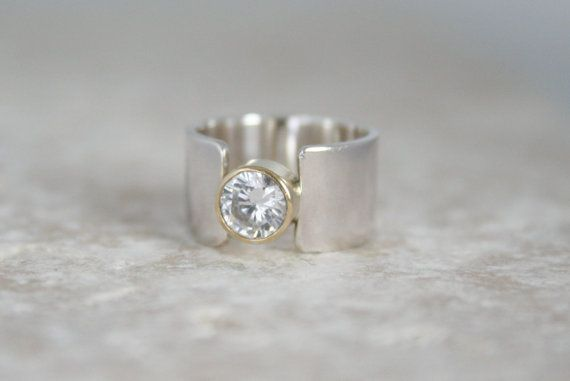 New Dawn Alternative Engagement Ring Lab Created Diamond Ethical Conflict Free Gold Bezel Wide Silver Band Custom Handmade Uk