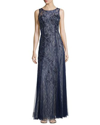 48759f9056891 Embellished Sleeveless Gown, Navy by Basix Black Label at Neiman Marcus  Last Call.