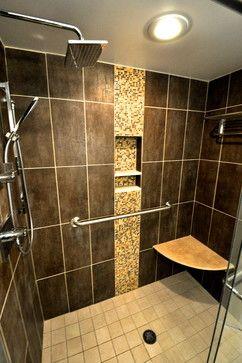 Custom Shower Tile With Shower Rain Head And Custom Corner Shower Seat.