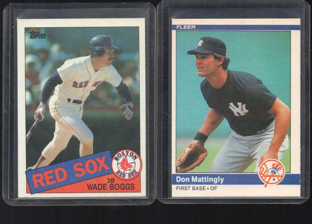 1984 Fleer 131 Don Mattingly 1985 Topps Wade Boggs 350 Don Mattingly Baseball Cards For Sale Baseball Cards