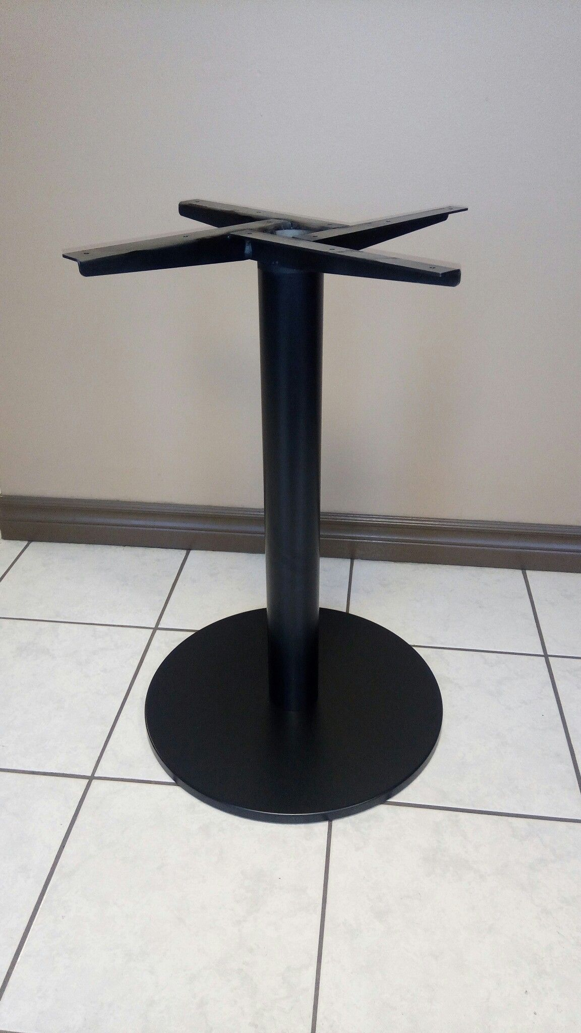 Custom Metal Disc Plateau Table Base With Angle Mount. Finished In Satin  Black Epoxy Powdercoated