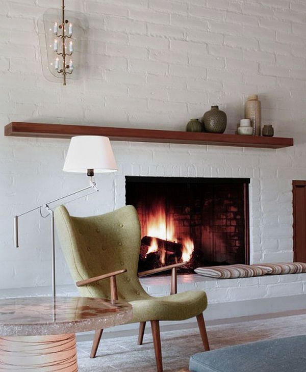 White Brick Wall Living Room with Fireplace Mantle Decoration ...