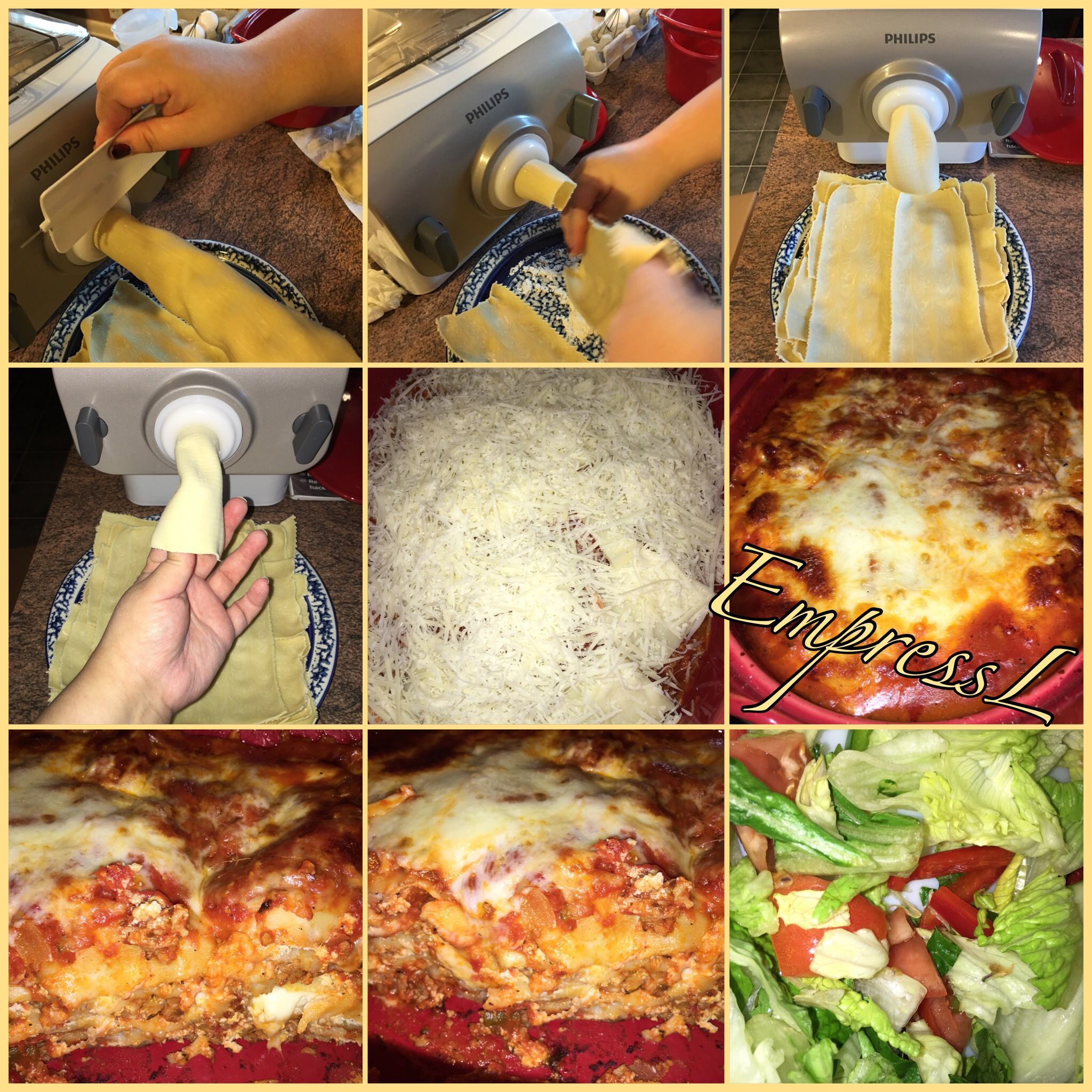 First Time Making Homemade Lasagna Using The Philips Pasta Maker Homemade Pasta Recipe Homemade Lasagna Pasta Maker