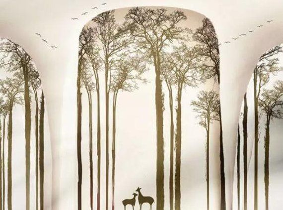 3D Abstract, Forest, Deer Wallpaper, Removable Self