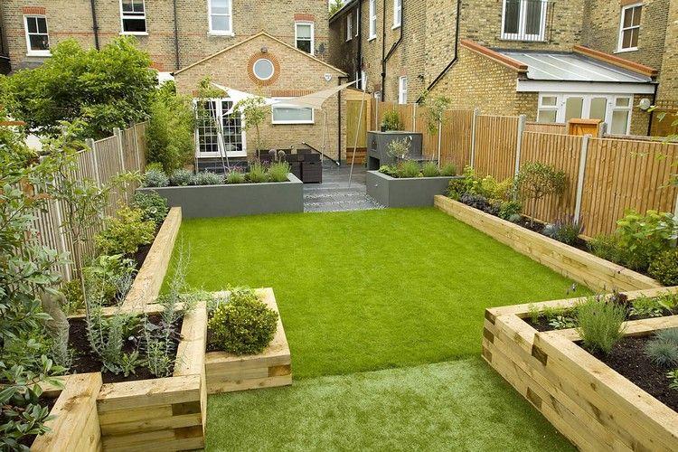 reihenhausgarten mit hochbeeten und rasen gestalten, Gartenarbeit ideen
