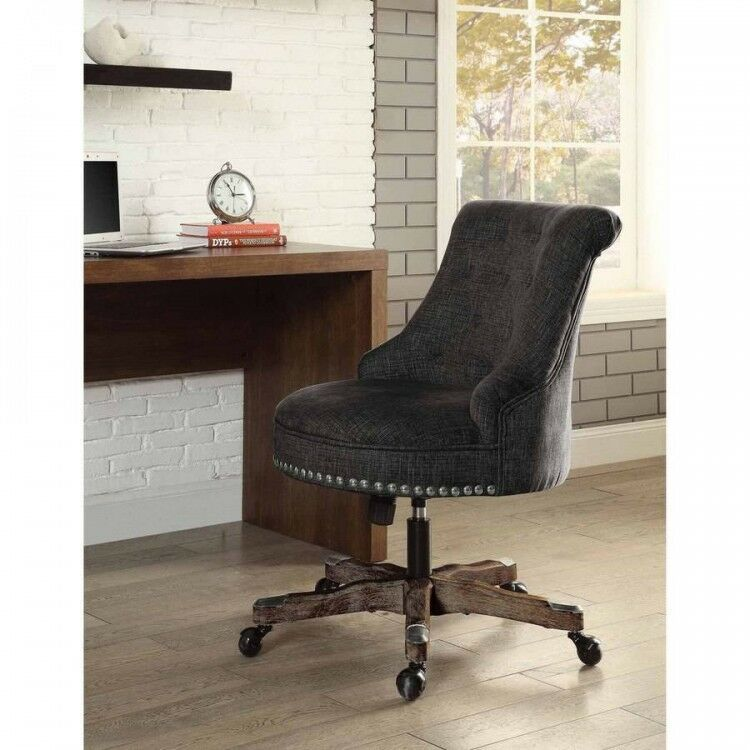 Executive office chair charcoal upholstered armless wood