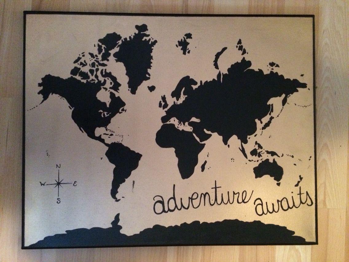 World map painting painting worldmap black gold diy josiesdiy world map painting painting worldmap black gold diy josiesdiy gumiabroncs Images