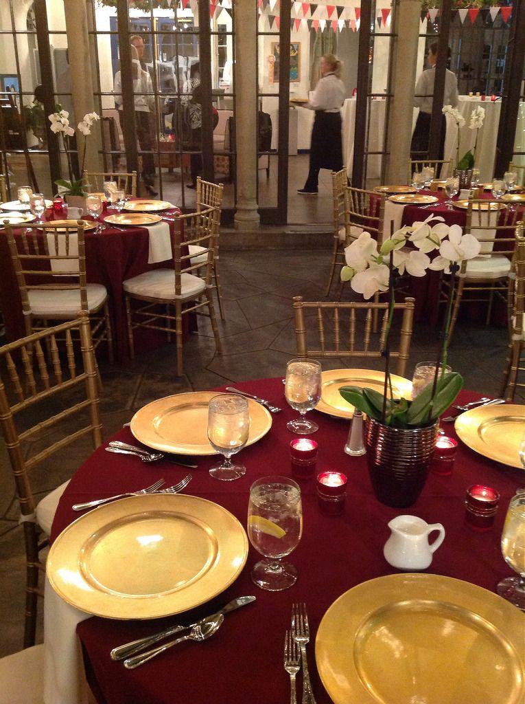 Elegant Christmas Gold wedding centerpieces, Burgundy