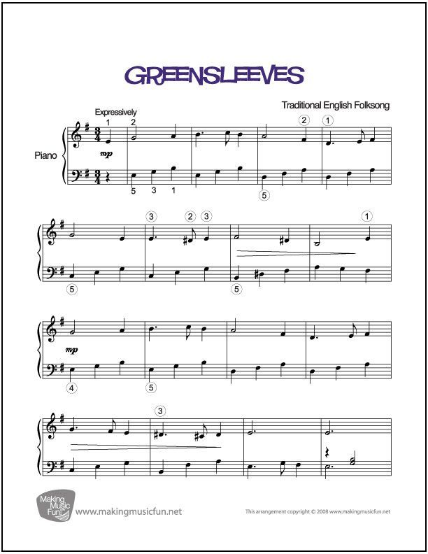 Piano scarborough fair piano sheet music : Greensleeves   Sheet Music for Piano (Digital Print) http ...
