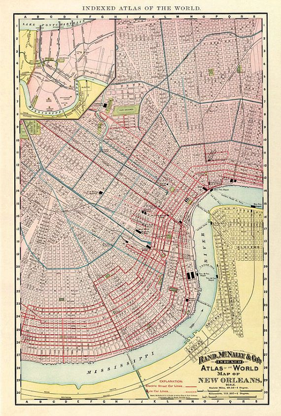 Antique New Orleans Map.New Orleans Map Old Map Of New Orleans Archival Print Travel