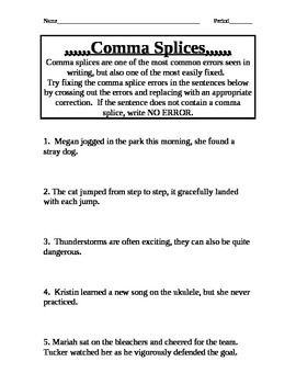 Comma Splice Practice | 5th grade writing, Sentences, 5th grades