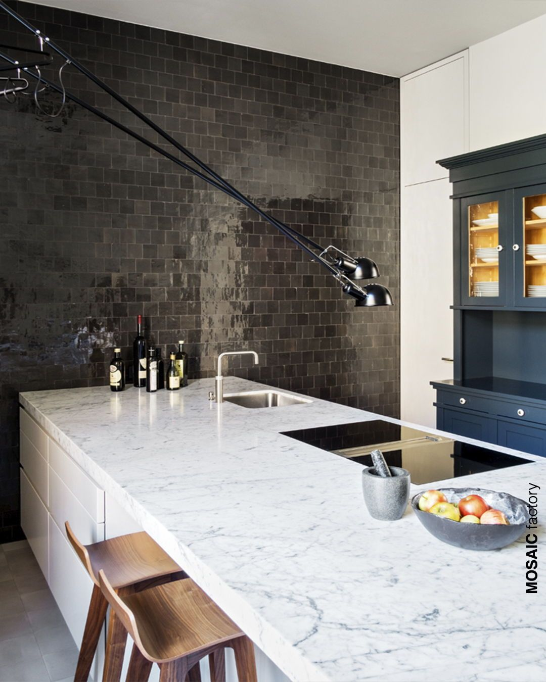 Modern Kitchen Design With Grey Feature Wall Zellige Tiles From