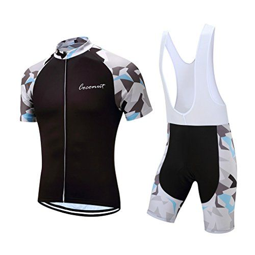 Coconut New Design Mens Summer Short Sleeves Bike Jersey Cycling Clothing  Bib Shorts With 3D Padded Medium BlackWhite -- See this great product. 58ba6857a