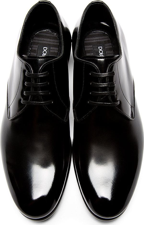 b1b214ccac01 Dolce   Gabbana  Black Buffed Leather Classic Derbys