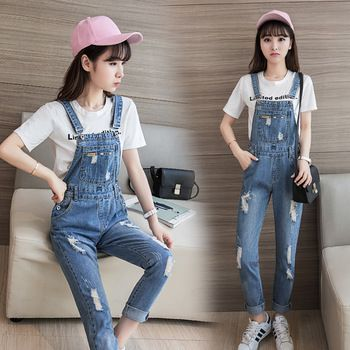 4cd0c9391b66 New 2017 Jumpsuits Jeans College Style Women Jumpsuit Denim Overalls  Rompers Ripped Hole Pants Jeans S-XL Bodysuit E724