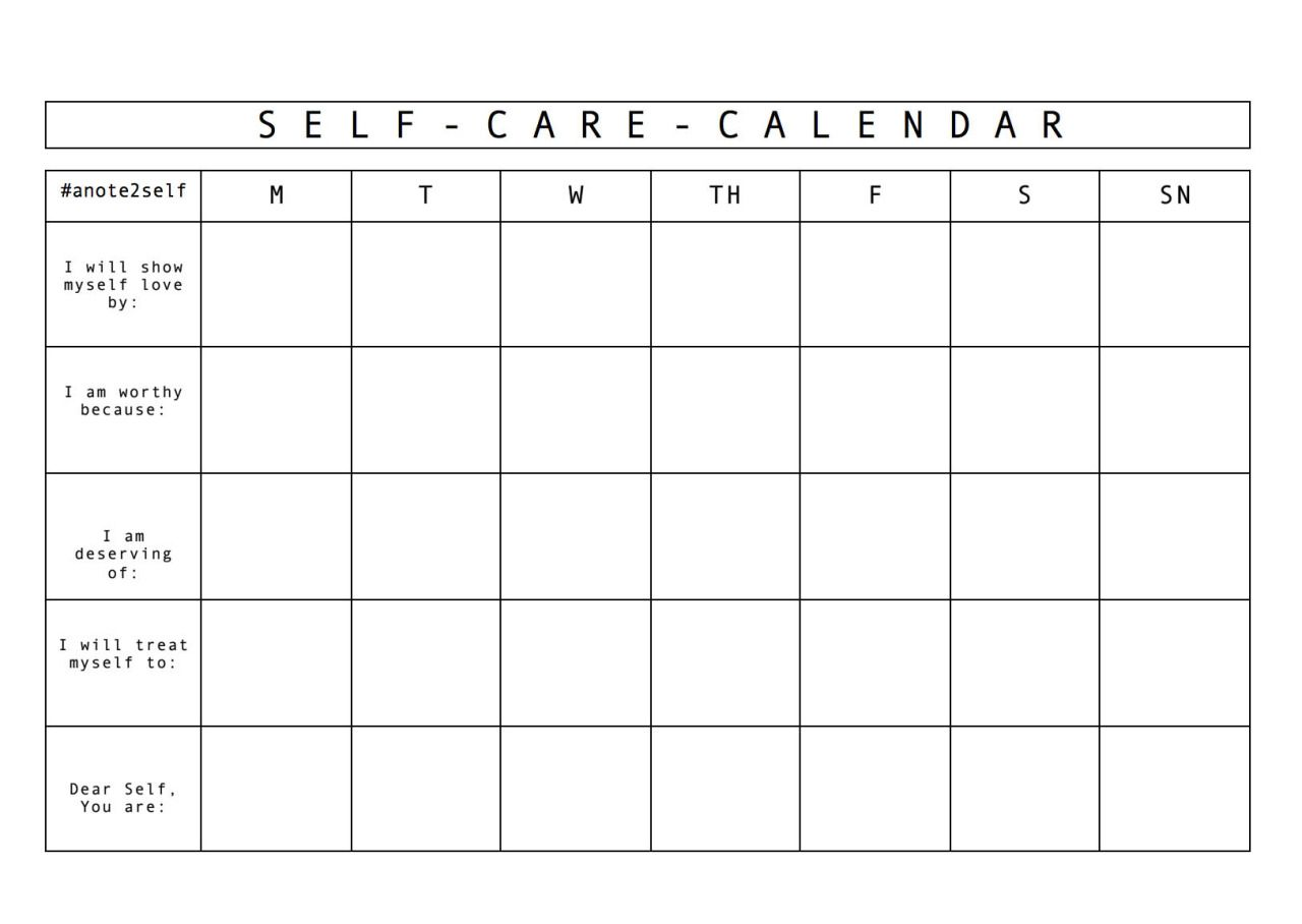 Calendar Photo Self Made : I made this self care calendar for my workshop today in