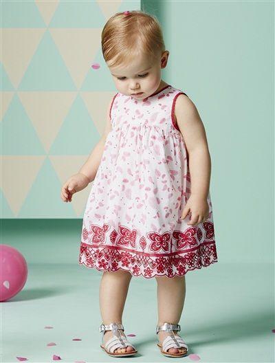 Festliches Babykleid Baumwollsatin Mädchen WEIß BEDRUCKT | TT Blush ...