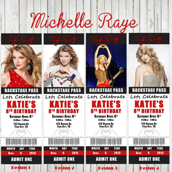Printable Taylor Swift Birthday Party Invitations tickets Concert ...