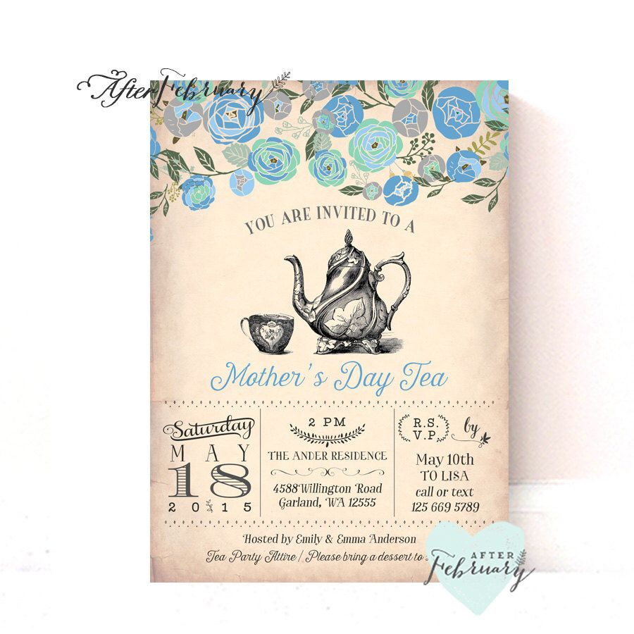 Mother\'s Day Invitation // Mother\'s Day Tea Party Invitation ...