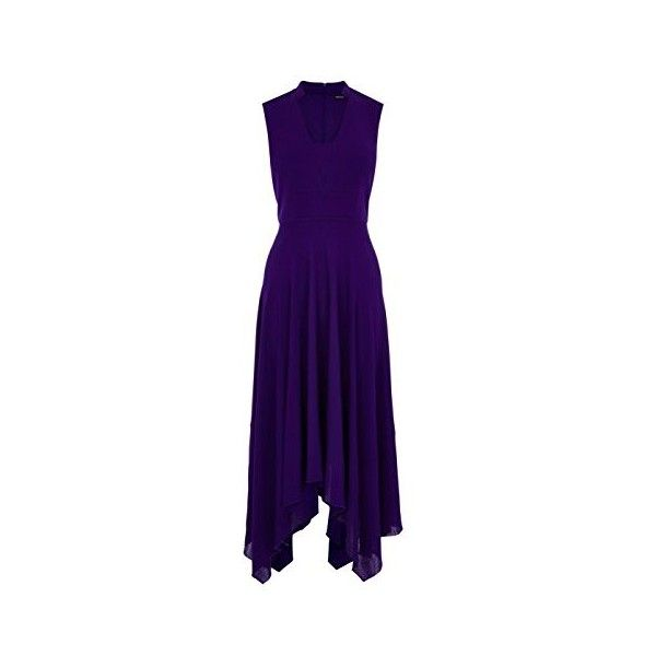 Karen Millen FLUID CREPE LONG DRESS (4.980 CZK) ❤ liked on Polyvore featuring dresses, karen millen dress, long purple dress, crepe dress, karen millen und long dresses