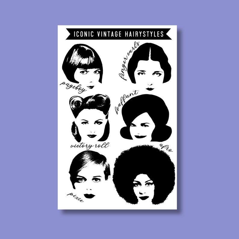Iconic Vintage Hairstyles Hair Salon Decor Retro Style Etsy In 2020 Hair Salon Decor Vintage Hairstyles Hair Styles