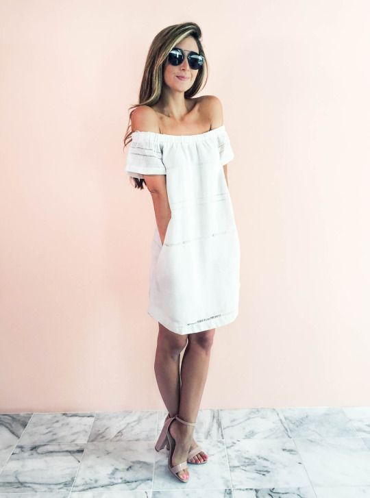 2700d7c8571 White off the shoulder dress with heels and sunnies. love the backdrop
