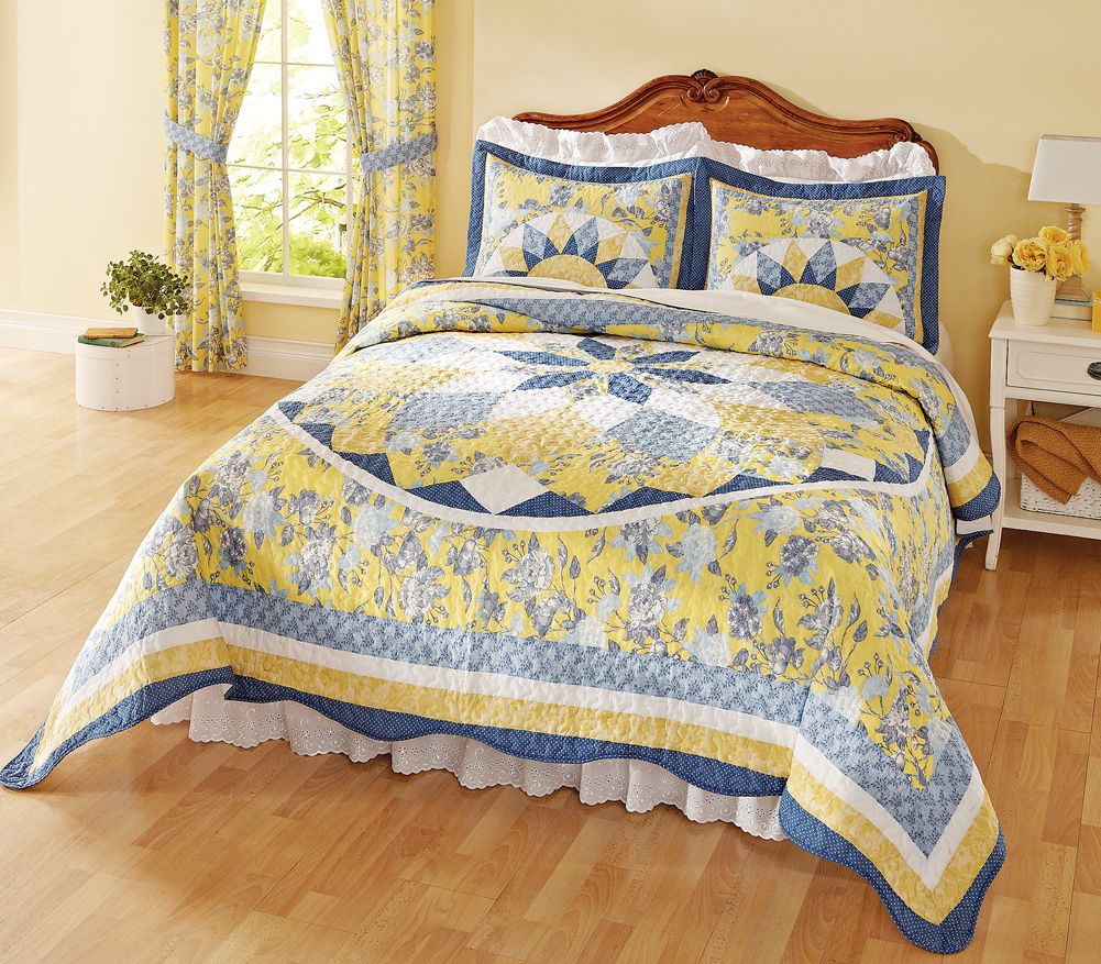 Patchwork Quilted Bedspread French Star Blue Yellow Beige Bed