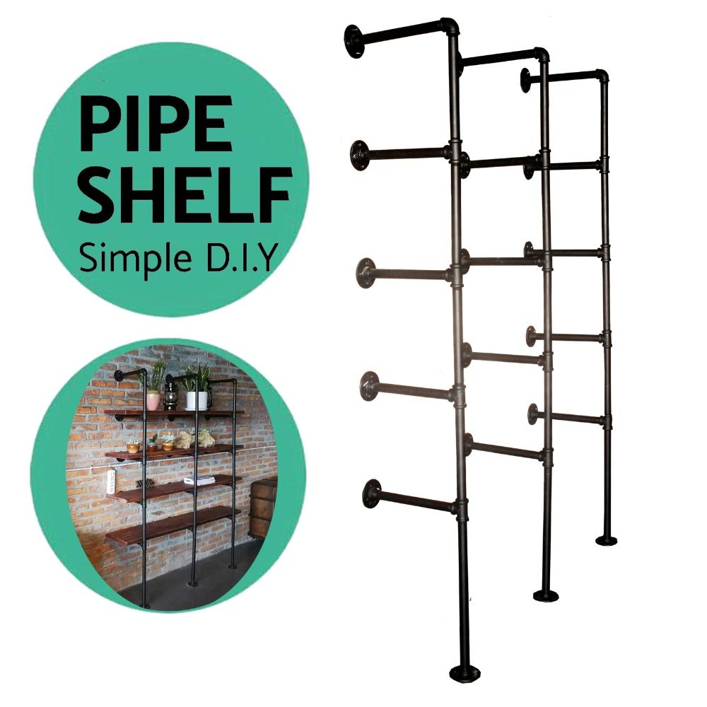 Industrial Pipe Bookcase Shelf Standing Book Shelves Storage Multi Function  5  Tier Storage Bookshelf Rack