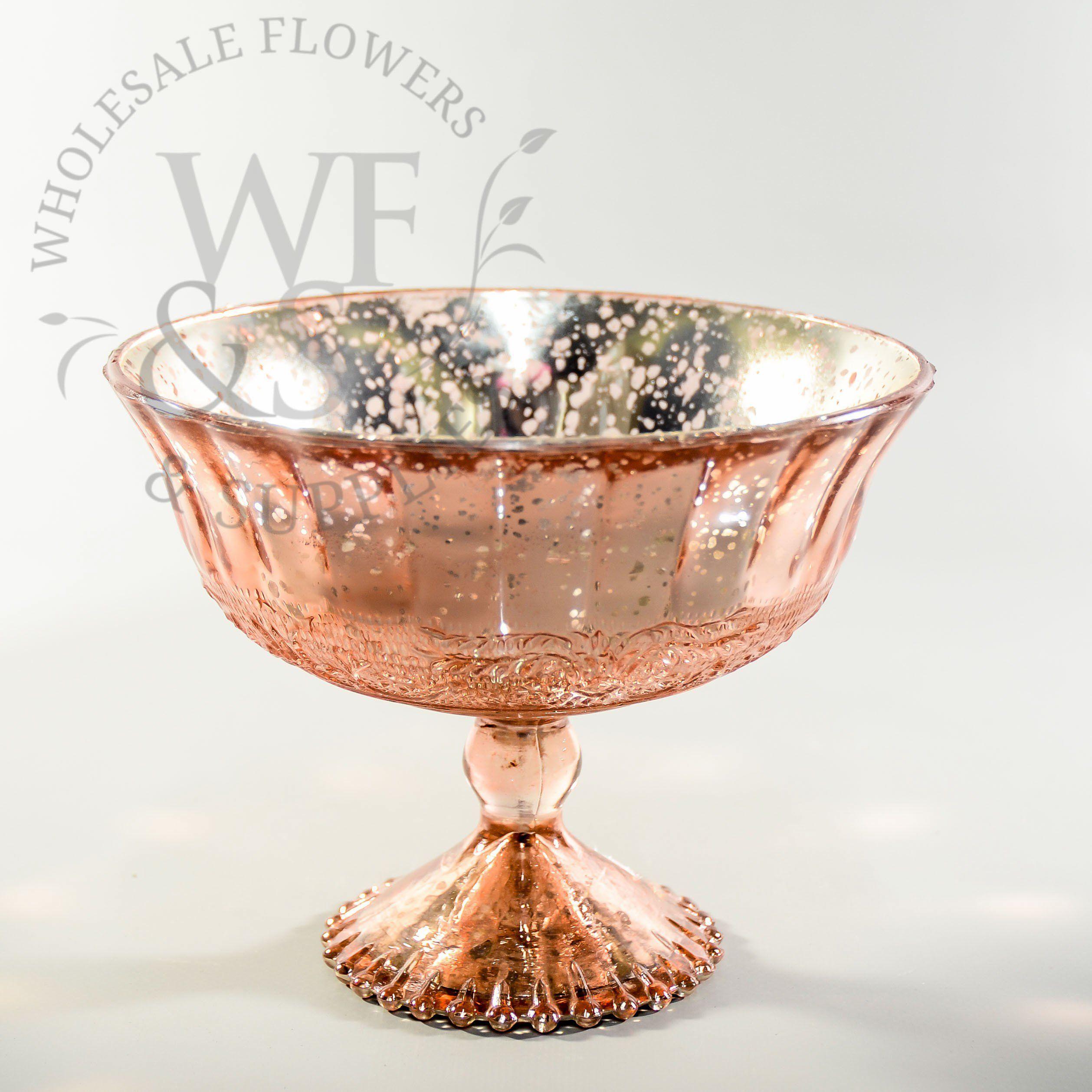 Rose Gold Glass Pedestal Vase Rose Gold Vase Gold Vases Wedding Mercury Glass Vase