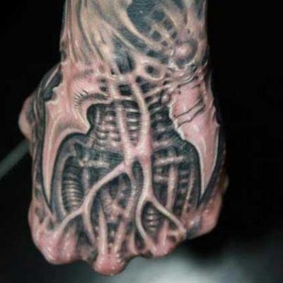 Biomechanical Hand Tattoo Hand Tattoos Biomechanical Tattoo Bio Organic Tattoo