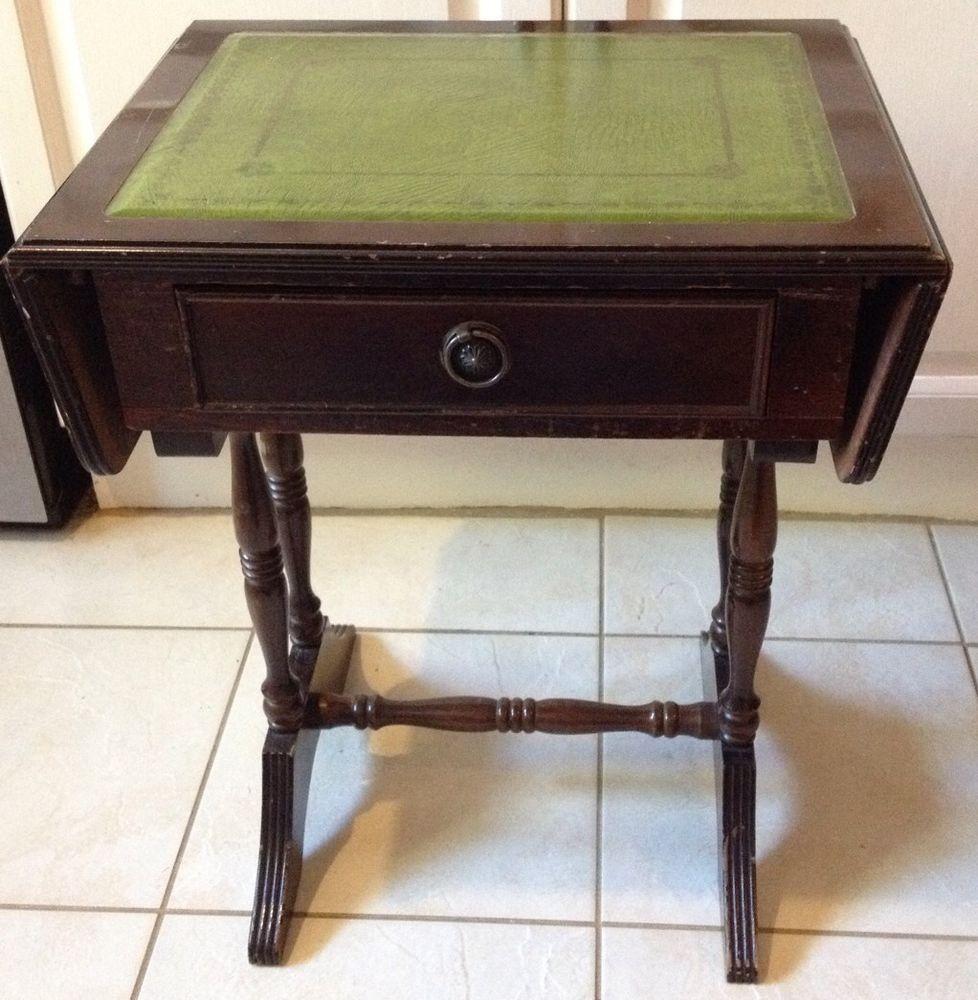 Reproduction Mahogany Coloured Sofa Table - Green Leather ...