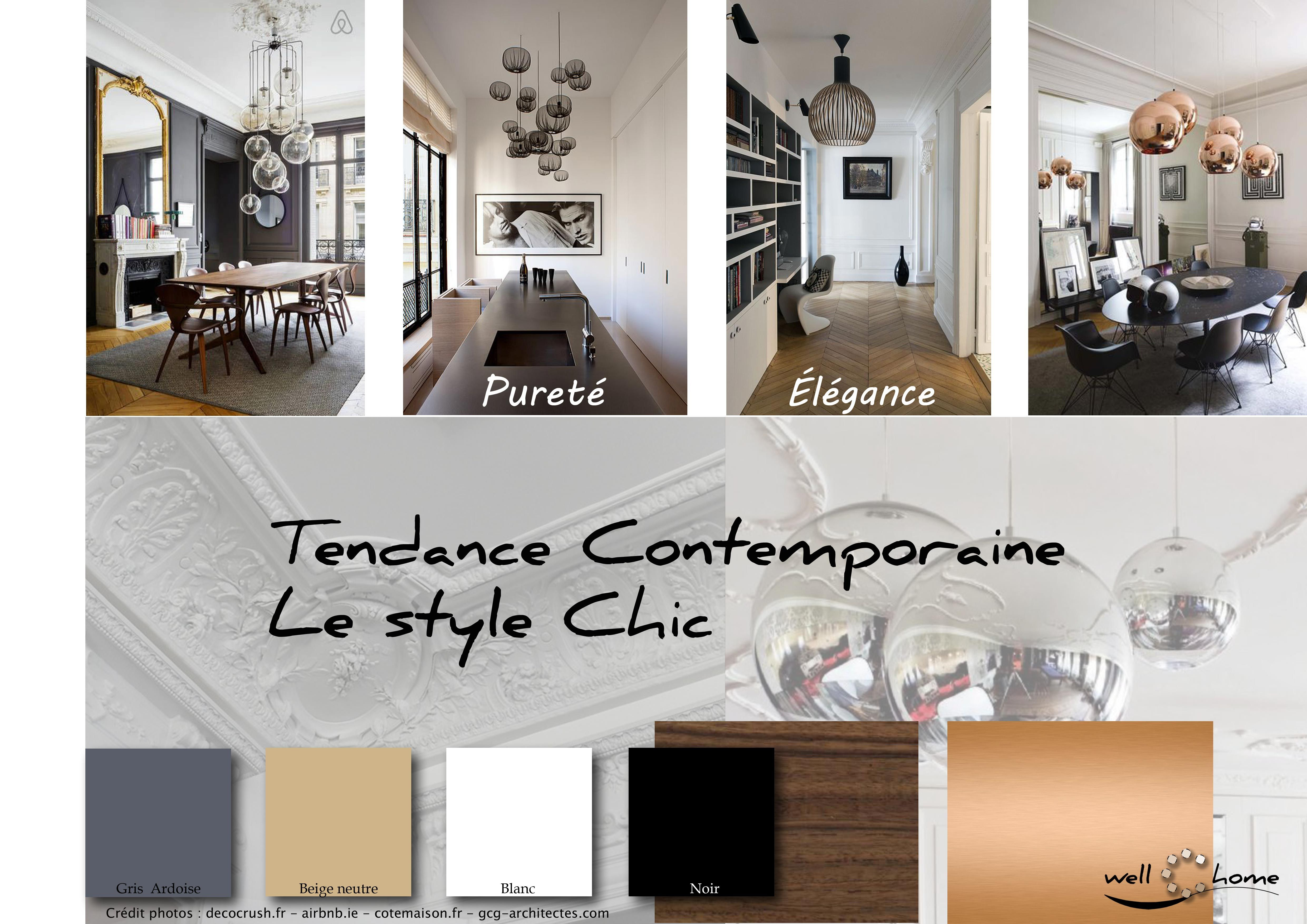 moodboard deco planche d ambiance tendance contemporaine style chic realisation well c home