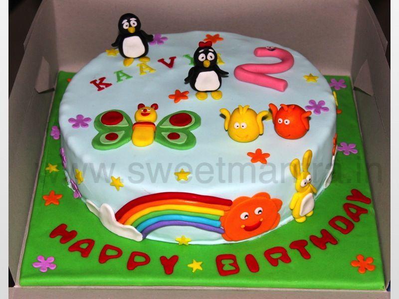 Homemade Eggless 3dcustom Penguins And Baby Tv Theme 2nd Birthday