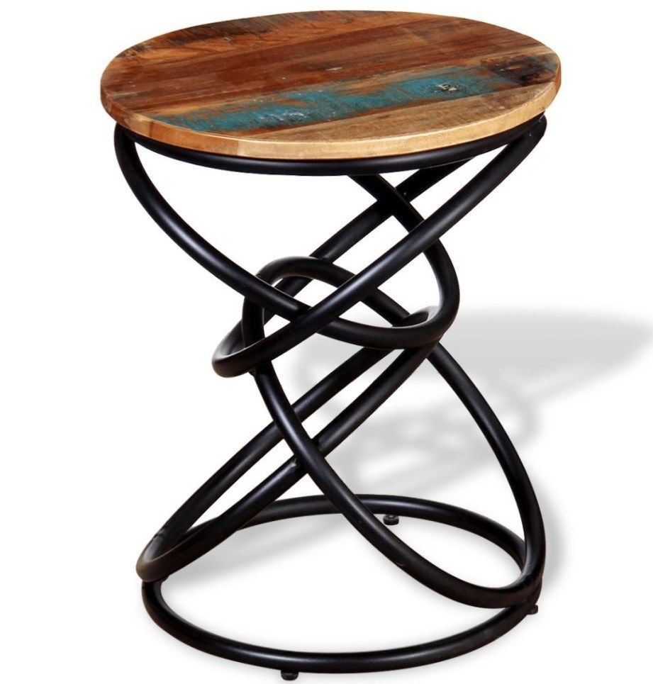 Vintage Industrial Side Table Small Round Furniture Metal Rustic End Retro Wood Wood End Tables Living Room Table Round Furniture
