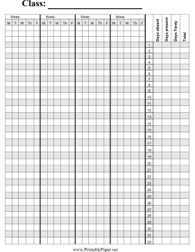 This class attendance paper is used by teachers to record ...