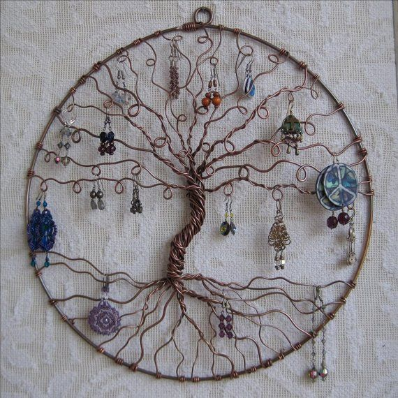 Jewelry Tree Copper Of Life Holder Wall Hanging Earring Orga